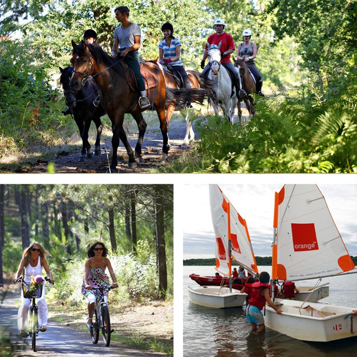 Activités à Mimizan - en forêt vélo et balade à cheval - sur le lac d'Aureilhan voile, stand up paddle