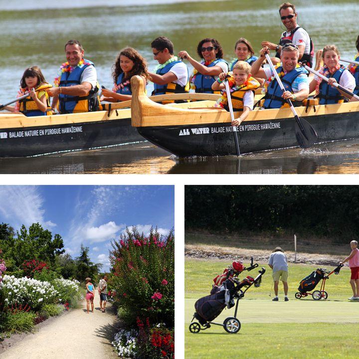 Activités sur le lac d'Aureilhan - Mimizan - pirogue hawaïenne - stand up yoga - promenade fleurie - golf Mimizan