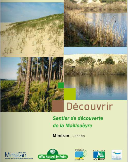 topo guide du sentier pédestre de découverte du sentier de la Mailloueyre sur Mimizan Plage - natura 2000 - cordon dunaire - observatoire - lac - belvédère - formation des dunes - faune - flore