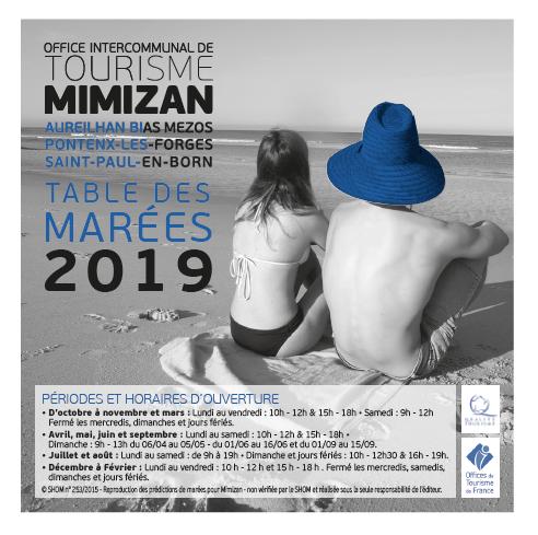 Table des marées Mimizan 2019