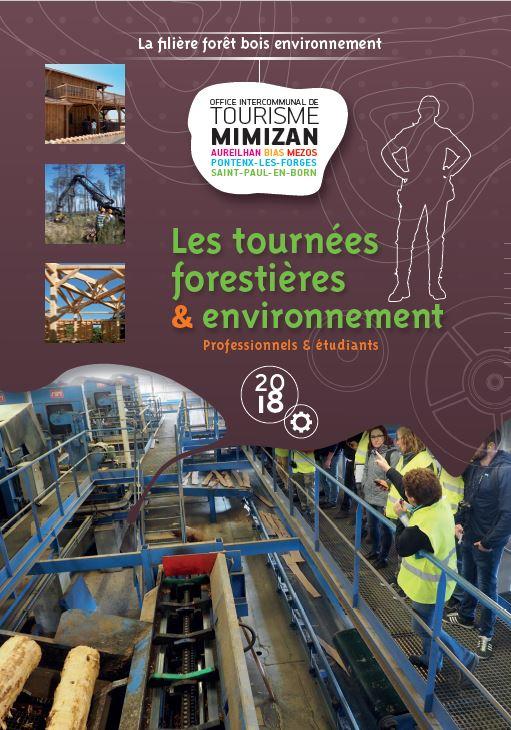 brochure étudiant de Mimizan proposant des visites en entreprises et en forêt - bois - pin maritime - cordon dunaire - transformation - lycée - découverte - forêt littorale - scolaire - usine - tournée forestière - séjour pédagogique